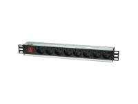 Bild von INTELLINET 48,3cm 19Z Steckdosenleiste 8-fach SCHUKO Steckdosen  Netzschalter Schwarz 3 m Stromkabel 16A 250V AC 3,5 kW IEC 60884