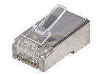 Bild von INTELLINET Cat5e RJ45 Modularstecker STP 3-Punkt-Aderkontaktierung fuer Litzen- und Massivdraht 100 Stecker pro Becher transparent