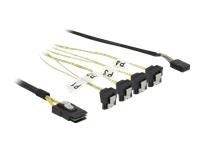 Bild von DELOCK Kabel Mini SAS SFF-8087 > 4 x SATA 7 Pin gewinkelt + Sideband 0,5m