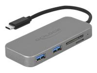 Bild von DELOCK 2 Port USB 3.0 Hub und 3 Slot Card Reader mit USB Type-C Anschluss
