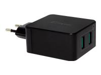 Bild von FANTEC QC3 A22 Quick Charge 3.0 36W fuer Qi faehige Geraete  Anschluessel: 2x USB 2x QC3.0 Farbe: schwarz