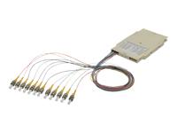 Bild von ASSMANN Spleisskassetten mit 12 Pigtails vormontiert ST (UPC) singlemode 9/125 gefärbte Pigtails LSZH