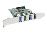 Bild von INLINE Schnittstellenkarte 4x USB 3.0 PCIe inkl. Low-Profile Slotblech mit SATA Stromanschluss