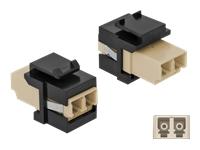 Bild von DELOCK Keystone Modul LC Duplex Buchse zu LC Duplex Buchse beige/schwarz