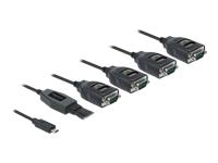 Bild von DELOCK Adapter USB Type-C zu 4xSeriell RS-232 DB9 mit 15 kV ESD Schutz